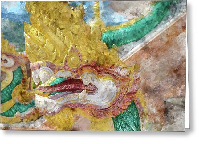 Dragons At Chalong Temple In Phuket Thailand Greeting Card by Brandon Bourdages