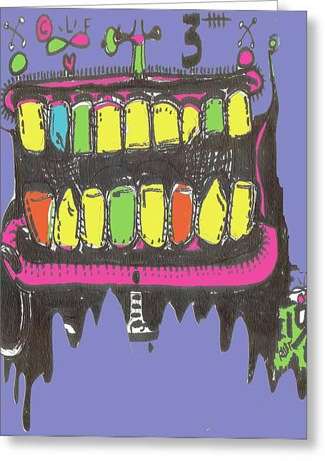 Raw Contemporary Graffiti Greeting Cards - DrooL Greeting Card by Robert Wolverton Jr