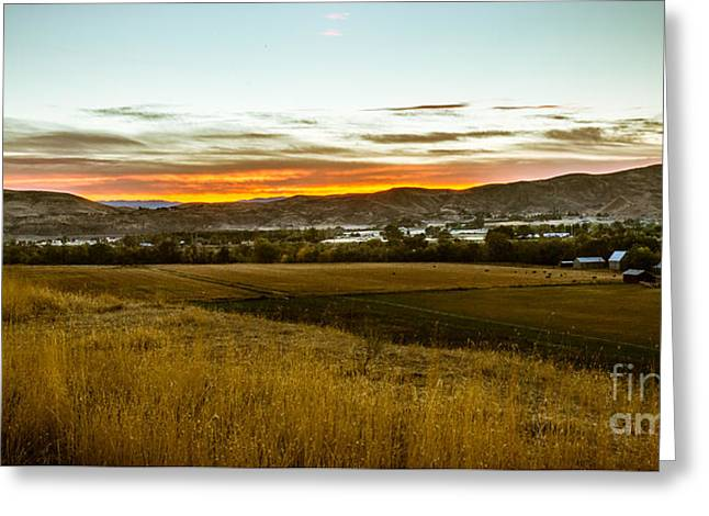 Haybale Greeting Cards - East End Of Emmett Valley Greeting Card by Robert Bales