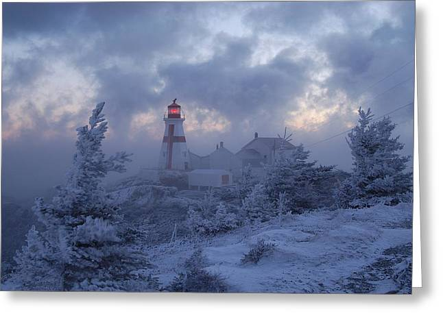 East Quoddy Lighthouse Greeting Cards - East Quoddy lighthouse 36 below Greeting Card by Don Dunbar