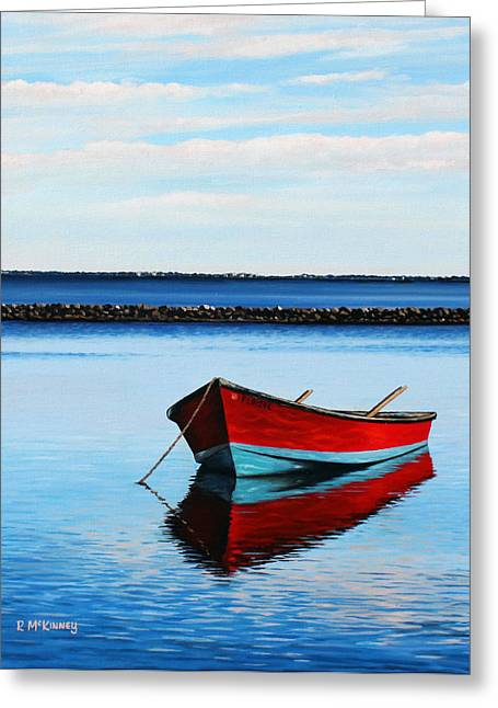 Photorealistic Paintings Greeting Cards - Eastpoint Red Greeting Card by Rick McKinney