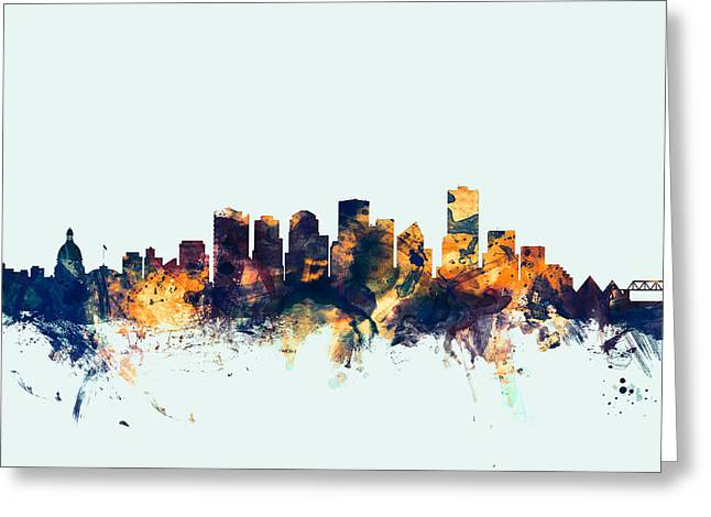 Edmonton Greeting Cards - Edmonton Canada Skyline Greeting Card by Michael Tompsett