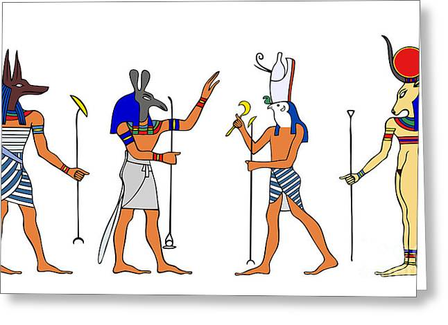 Egyptian Gods and Goddess Greeting Card by Michal Boubin