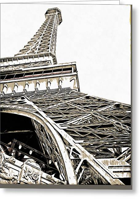 Las Vegas Greeting Cards - Eiffel Tower Greeting Card by Edward Fielding