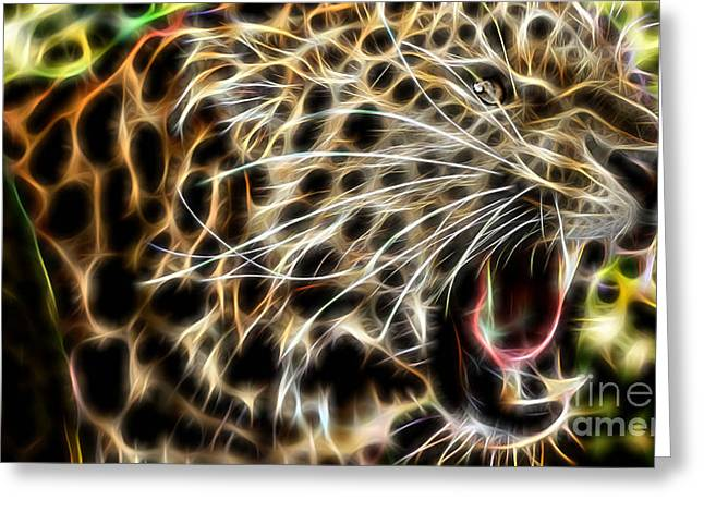 Animal Greeting Cards - Electric Leopard Wall Art Collection Greeting Card by Marvin Blaine