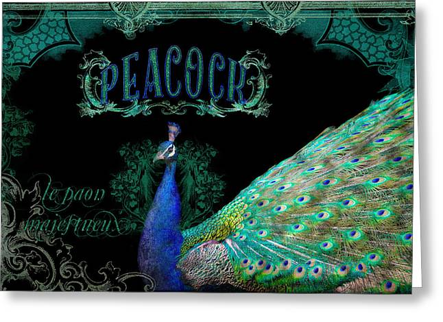 Peacock Greeting Cards - Elegant Peacock w Vintage Scrolls  Greeting Card by Audrey Jeanne Roberts