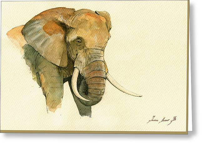 Big-five Greeting Cards - Elephant painting           Greeting Card by Juan  Bosco