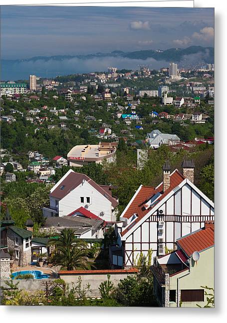 Sochi Russia Greeting Cards - Elevated City View From The Arboretum Greeting Card by Panoramic Images