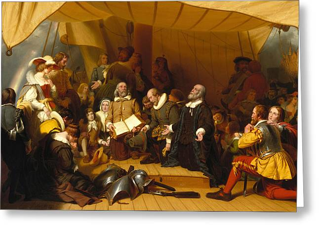 Embarkation Of The Pilgrims Greeting Card by Robert Walter Weir