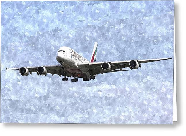 Emirates A380 Airbus Watercolour Greeting Card by David Pyatt