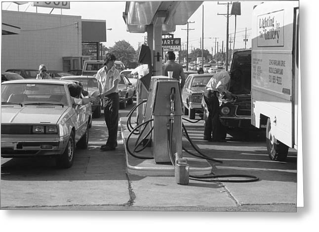 Energy Crisis Gasoline Lines Greeting Card by Underwood Archives