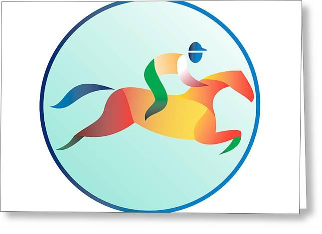 Equestrian Show Jumping Circle Retro Greeting Card by Aloysius Patrimonio