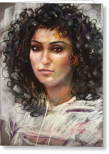 Pastel Portrait Greeting Cards - Erbora Greeting Card by Ylli Haruni