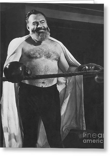 Nobel Prize Greeting Cards - Ernest Hemingway Greeting Card by Granger