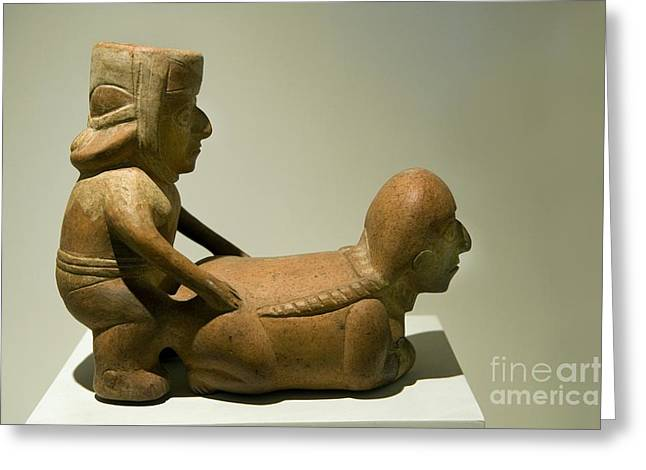 Ceramic Sculpture Greeting Cards - Erotic Sculpture, Moche Epoch Greeting Card by Tony Camacho