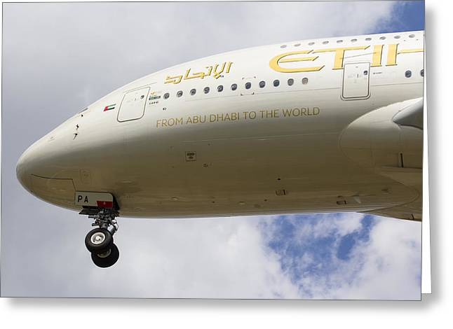 A380 Greeting Cards - Etihad Airlines Airbus A380 Greeting Card by David Pyatt
