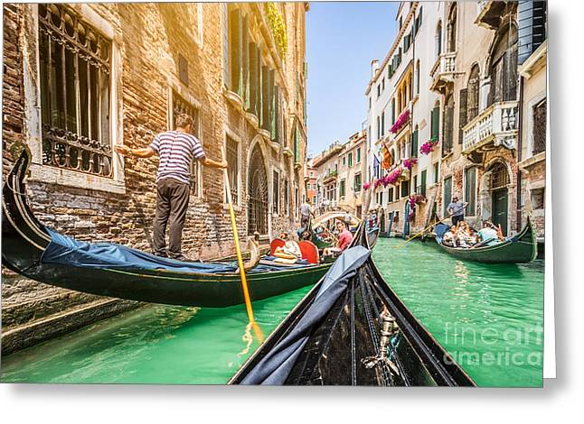 Gondolier Greeting Cards - Exploring Venice Greeting Card by JR Photography