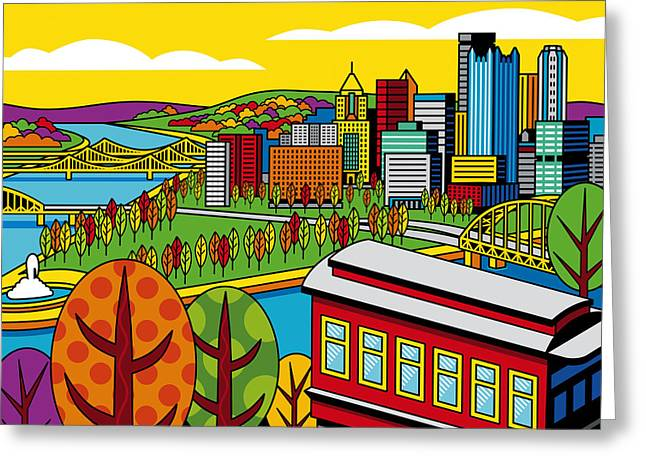 Pittsburgh Digital Greeting Cards - Fall from above Greeting Card by Ron Magnes