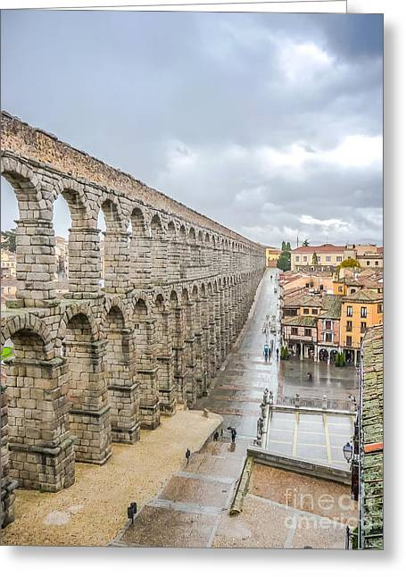 Famous Bridge Greeting Cards - Famous ancient aqueduct in Segovia, Castilla y Leon, Spain Greeting Card by JR Photography