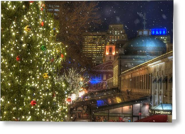 New England Snow Scene Greeting Cards - Faneuil Hall Christmas Greeting Card by Joann Vitali