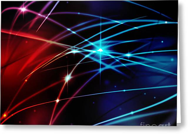Abstract Style Digital Art Greeting Cards - Fantastic light line Greeting Card by Atiketta Sangasaeng