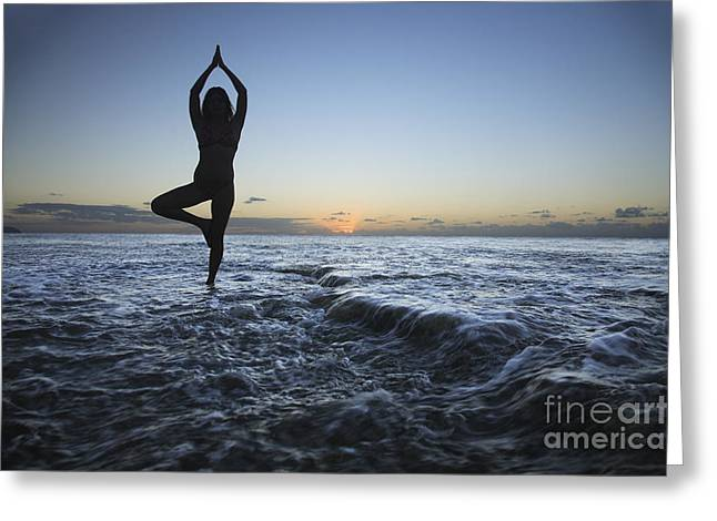 Female doing Yoga at sunset Greeting Card by Brandon Tabiolo - Printscapes