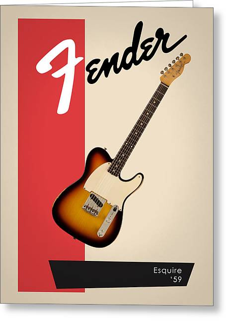 Rock N Roll Greeting Cards - Fender Esquire 59 Greeting Card by Mark Rogan