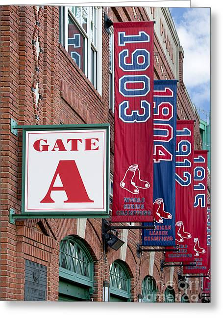 Tickets Boston Greeting Cards - Fenway Park Gate A Greeting Card by Jerry Fornarotto