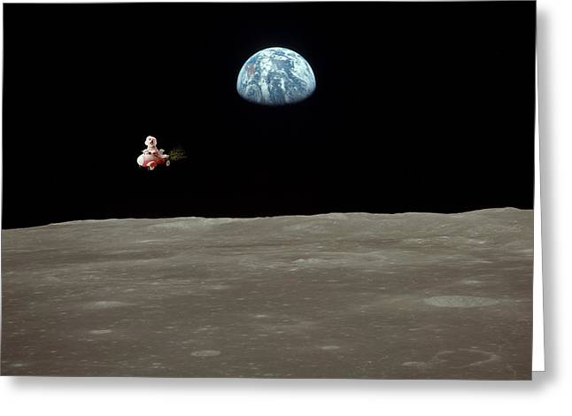 Friend Ship Greeting Cards - Fifi goes to the moon Greeting Card by Michael Ledray