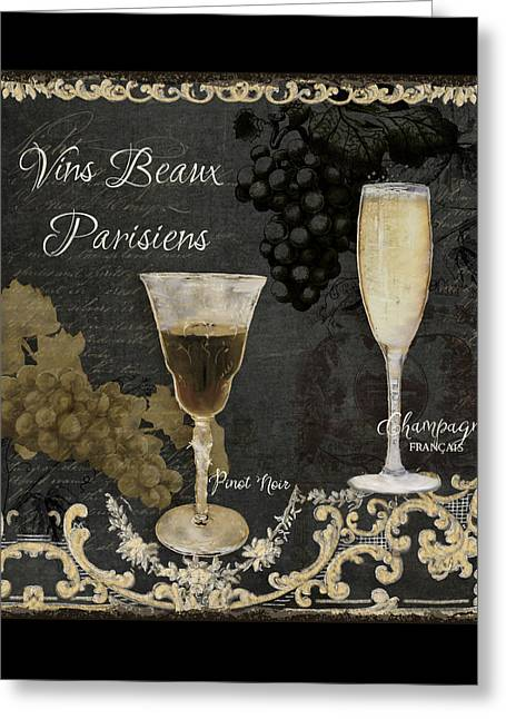 Grape Vineyard Greeting Cards - Fine French Wines - Vins Beaux Parisiens Greeting Card by Audrey Jeanne Roberts
