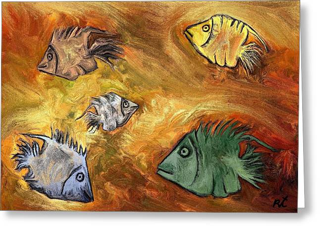 Best Sellers -  - Abstract Digital Drawings Greeting Cards - Fish Greeting Card by Rafi Talby