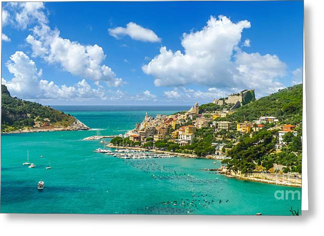Historic Architecture Greeting Cards - Fisherman town of Portovenere, Liguria, Italy Greeting Card by JR Photography