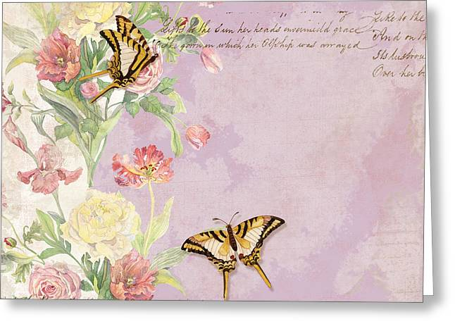 Exquisite Greeting Cards - Fleurs de Pivoine - Watercolor w Butterflies in a French Vintage Wallpaper Style Greeting Card by Audrey Jeanne Roberts