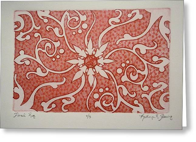 Texture Flower Drawings Greeting Cards - Floral Rug Greeting Card by Kathryn Fleming
