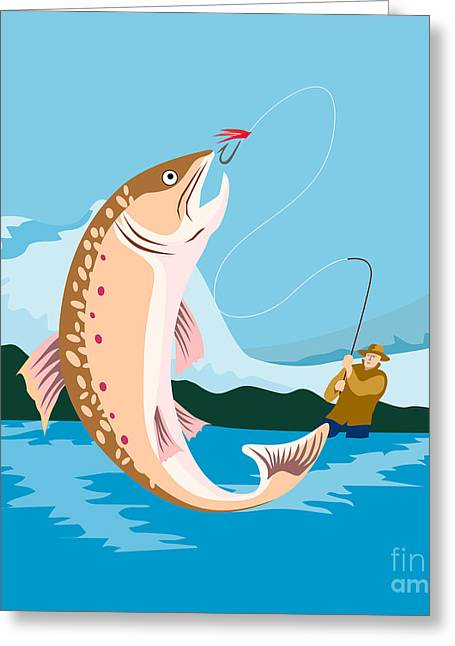 Speckled Trout Greeting Cards - Fly fisherman catching trout Greeting Card by Aloysius Patrimonio