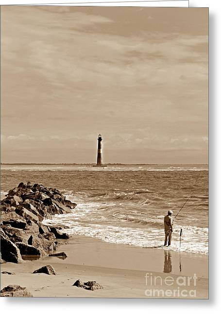 Beach Photography Greeting Cards - Folly Beach Fisherman Sc Greeting Card by Skip Willits
