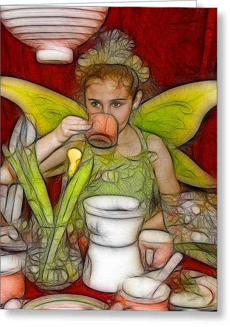 Tea Party Greeting Cards - Fondue Fairy Tea Princess Greeting Card by Rich Beer