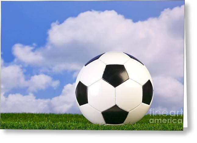 Goal Kick Greeting Cards - Football on grass Greeting Card by Richard Thomas