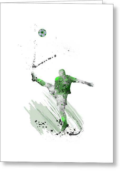 Football Player Greeting Card by Marlene Watson