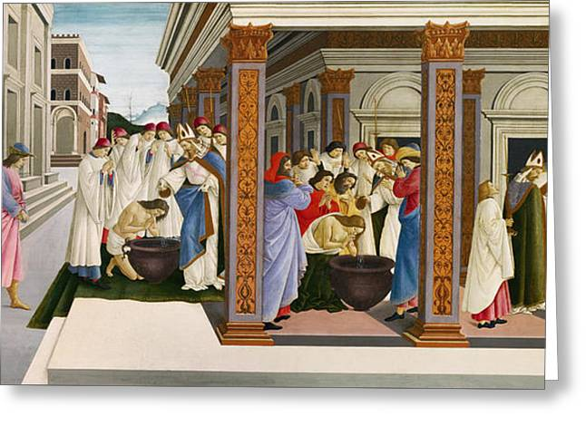 Florentine Greeting Cards - Four scenes from the early life of Saint Zenobius Greeting Card by Sandro Botticelli