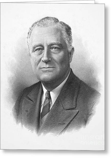 20th President Greeting Cards - Franklin Delano Roosevelt Greeting Card by Granger