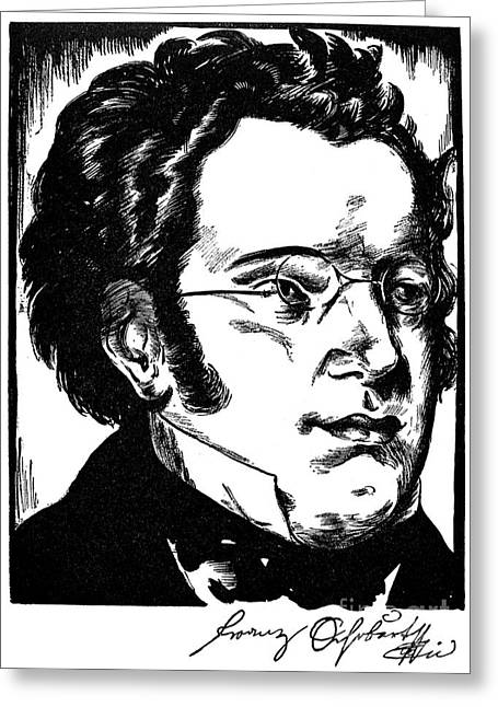 Autographed Greeting Cards - Franz Schubert (1797-1828) Greeting Card by Granger