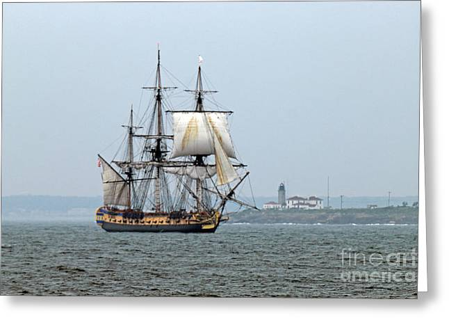 Concord Greeting Cards - French Frigate Hermione Greeting Card by Jim Beckwith