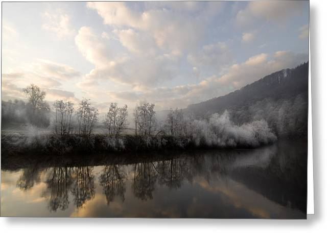 Sonne Greeting Cards - Frozen River Greeting Card by Angel  Tarantella