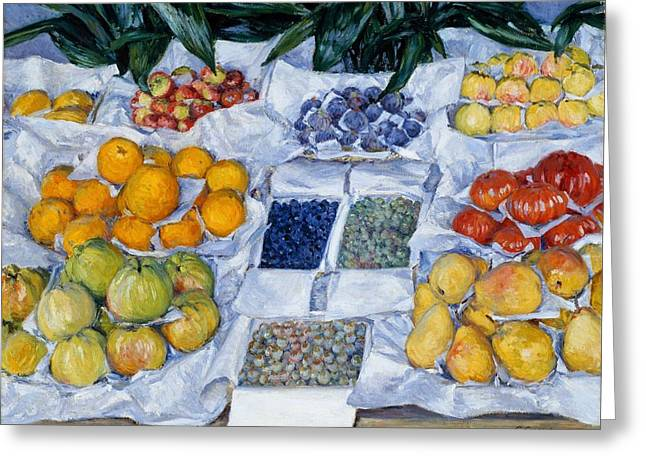 Fruit Displayed On A Stand Greeting Card by Mountain Dreams