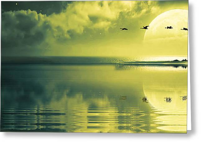 Lighthouse Digital Greeting Cards - Fullmoon over the ocean Greeting Card by Jaroslaw Grudzinski