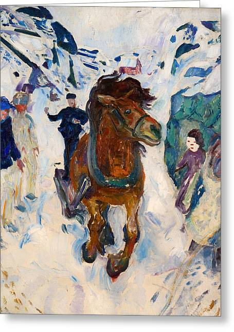 Wintry Greeting Cards - Galloping Horse Greeting Card by Edvard Munch