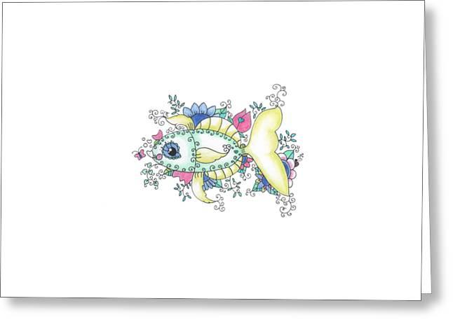 Sea Animals Greeting Cards - Garden Fish Greeting Card by Rachel Huddleston