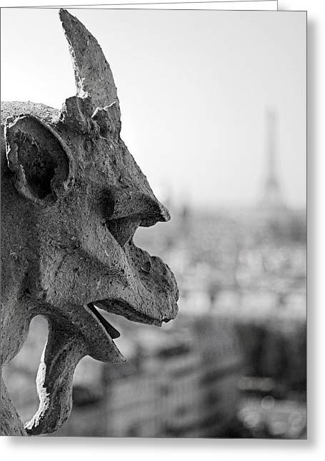 Gargoyles Greeting Cards - Gargoyle guarding the Notre Dame Basilica in Paris Greeting Card by Pierre Leclerc Photography