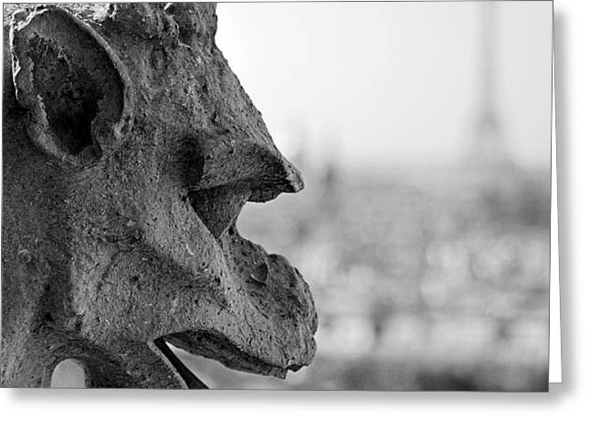 Gargoyle guarding the Notre Dame Basilica in Paris Greeting Card by Pierre Leclerc Photography